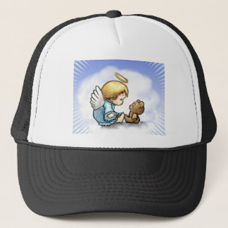 Angel baby and teddy bear trucker hat
