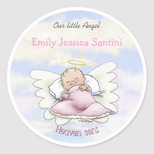 Angel baby boy classic round sticker