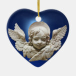 ANGEL / Baby's First Christmas Photo Template Ceramic Heart Decoration