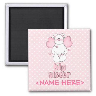 Angel Bear Big Sister Square Magnet