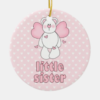 Angel Bear Little Sister Round Ceramic Decoration