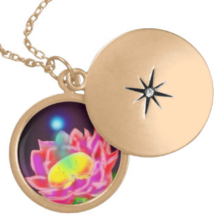 Angel Bear Necklace-Flower & Sunrise Locket Necklace