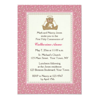 Angel Bear, Pink White Daisy Religious Invitation