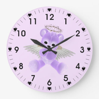 Angel Bear Round (Large) Wall Clock (mauve/pink)