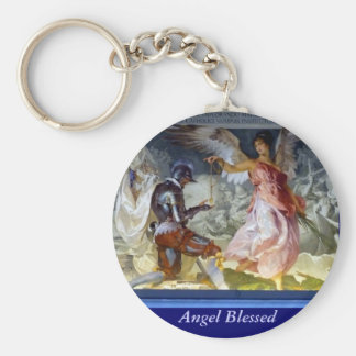 Angel Blessed Basic Round Button Key Ring