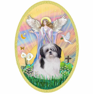 Angel Blessing a Shih Tzu (black and white) Standing Photo Sculpture