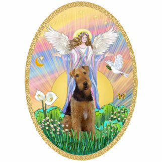Angel Blessing an Airedale Standing Photo Sculpture