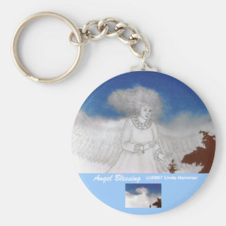 Angel Blessing Basic Round Button Key Ring