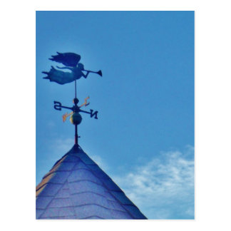 Angel BLOWING HORN WEATHER VANE Postcard