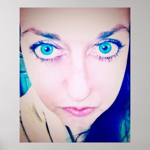 Angel blue eyes, beautiful girl face photo closeup poster
