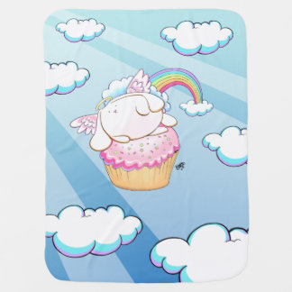 Angel Bunny Riding a Cupcake Cartoon Baby Blanket