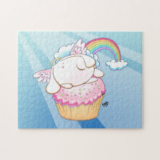 Angel Bunny Riding a Cupcake Cartoon Puzzle