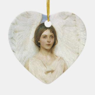 Angel by Abbott Thayer, Vintage Victorian Fine Art Ceramic Heart Decoration