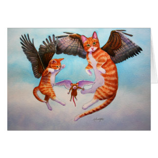 Angel Cat and Mouse Game Greeting Card