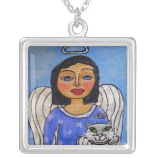 Angel Cat Angel on Cloud Folk Art Silver Plated Necklace