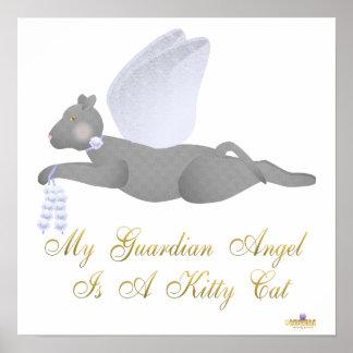 Angel Cat Dark Gray Blue Roses Guardian Angel Kitt Posters
