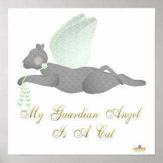 Angel Cat Dark Gray Green Roses Guardian Angel Cat Poster