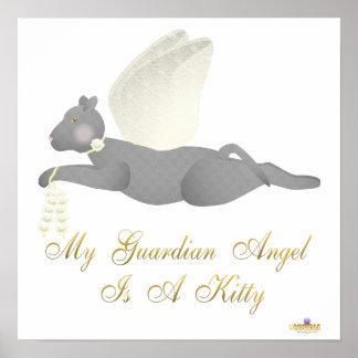 Angel Cat Dark Gray Yellow Roses Guardian Angel Ki Poster