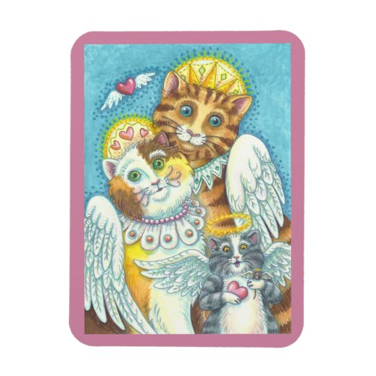 Angel Cat Family PURRS IN HEAVEN MAGNET