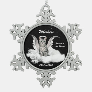 Angel Cat Gray Tabby Memorial Christmas Snowflake Pewter Christmas Ornament