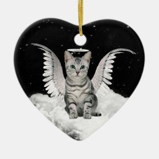 Angel Cat Gray Tabby Pet Memorial Christmas Ornament