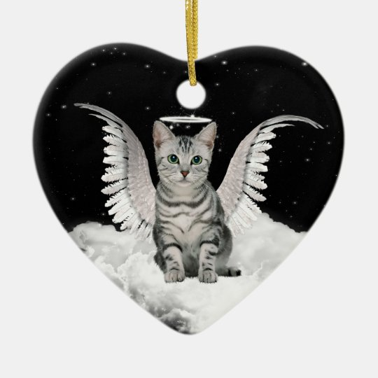 Angel Cat Grey Tabby Pet Memorial Christmas Ornament