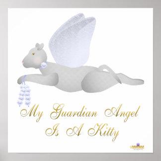 Angel Cat Light Gray Blue Roses Guardian Angel Kit Poster