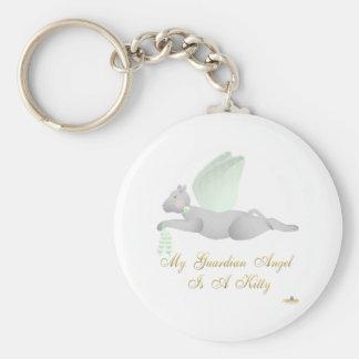 Angel Cat Light Gray Green Roses Guardian Angel Ki Keychain