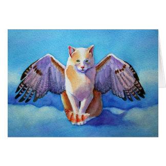 Angel Cat Red Tail Hawk Card
