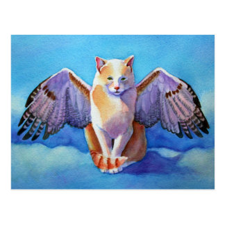 Angel Cat Red Tail Hawk Postcard