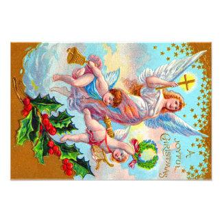 Angel Cherub Christian Cross Bell Wreath Holly Photo Art