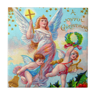 Angel Cherub Christian Cross Bell Wreath Holly Small Square Tile