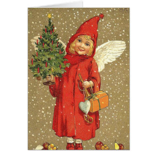 Angel Cherub Christmas Tree Snow Card