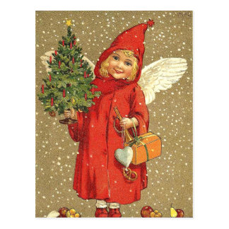 Angel Cherub Christmas Tree Snow Postcard