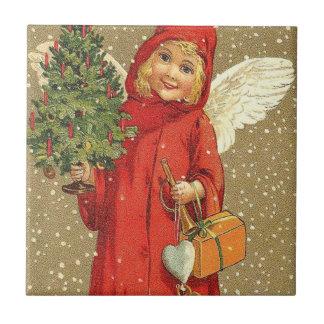 Angel Cherub Christmas Tree Snow Small Square Tile