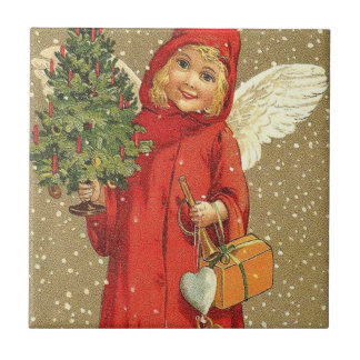 Angel Cherub Christmas Tree Snow Tile