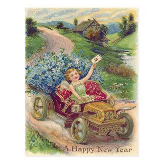 Angel Cherub Forget-Me-Not Car Postcard