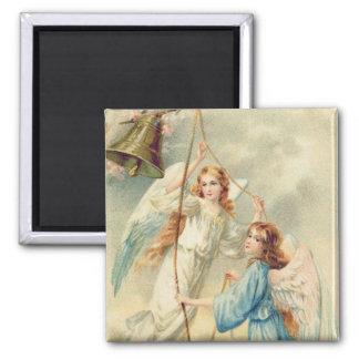 Angel Cherub Heaven Ringing Bell Square Magnet