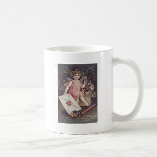 Angel Cherub Violets Letter Heart Basic White Mug