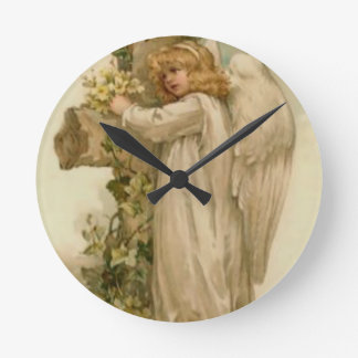 Angel Christian Cross Lily Leaf Round Clock