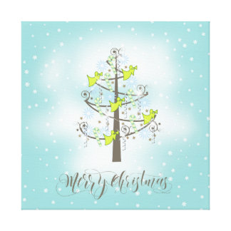 Angel Christmas Tree Blue ID197 Gallery Wrapped Canvas