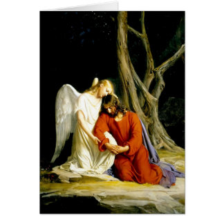 Angel Comforting Jesus in Garden Greeting Card