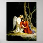 Angel Comforting Jesus in Garden Poster