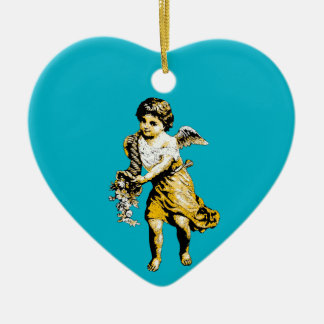 Angel Cornucopia Sketch Ceramic Heart Decoration