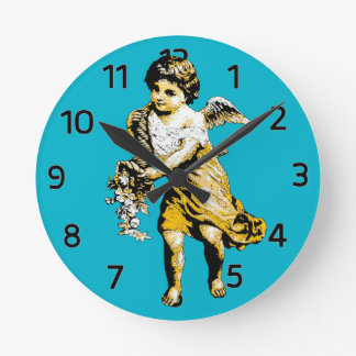 Angel Cornucopia Sketch Round Clock