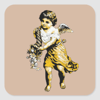 Angel Cornucopia Sketch Square Sticker