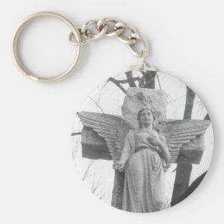 Angel Cross Basic Round Button Key Ring