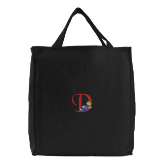 Angel D Embroidered Tote Bag