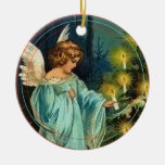 Angel Decorates Tree Vintage Christmas Ornament