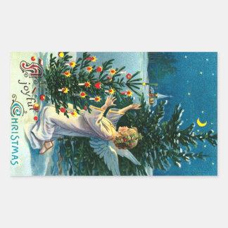 Angel Decorating Christmas Tree 2 Rectangular Sticker